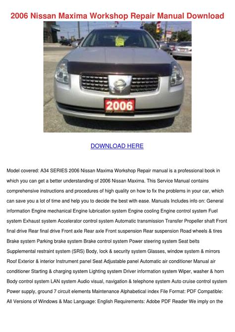 2006 nissan maxima owners manual nissan maxima manual html autos post