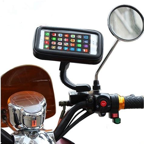 motorcycle rearview mirror phone holder waterproof case