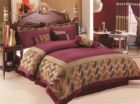 maroon and gold comforter set 7pcs burgundy gold orange chenille quilted comforter set