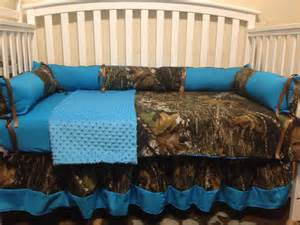 Mossy Oak Baby Bedding Crib Sets Camo Mossy Oak And Turquoise 4 Pc Crib Bedding Set With Minky