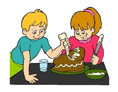 mujres asiedo dibujo de haciendo una tarta pintado por anniemch en