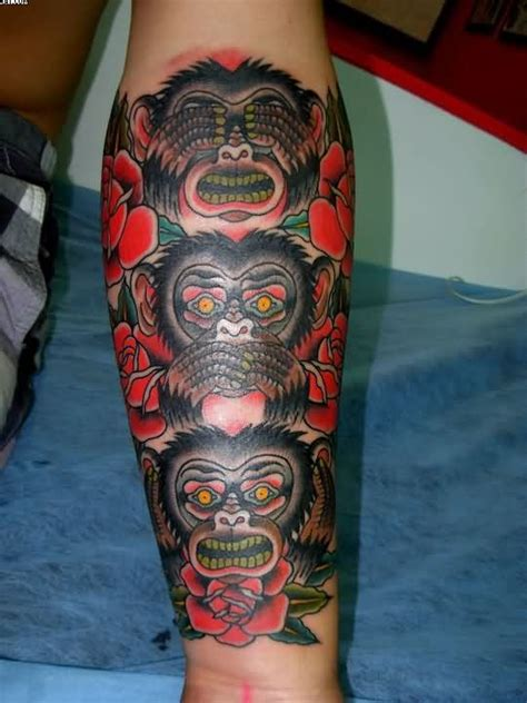3 wise monkeys tattoo designs three wise monkeys and roses on arm
