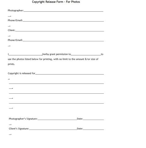 photographer copyright release form template photographers copyright form template sle