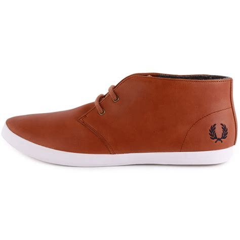 fred perry b3132 byron mid mens leather ankle boots