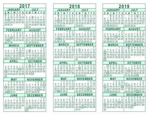 printable year calendar 2017 and 2018 2017 2018 2019 3 year calendar