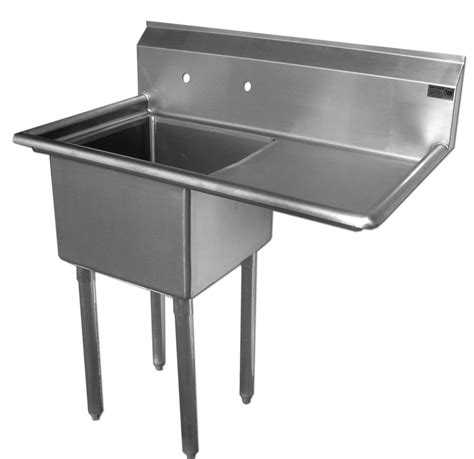 24x24 stainless steel sink economy stainless 1 well 24x24 sink w 24 quot drain board right