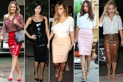 celebrity style now now trending pvc pencil skirts celebrity style livingly