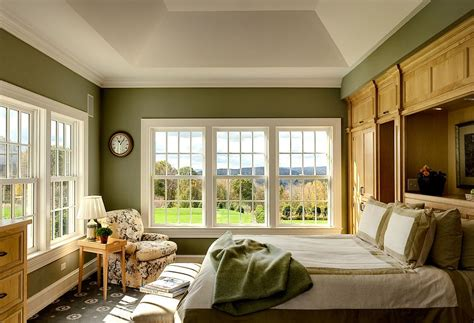Large Bedroom Paint Ideas Traditional Bedroom In Green And White With Large Windows