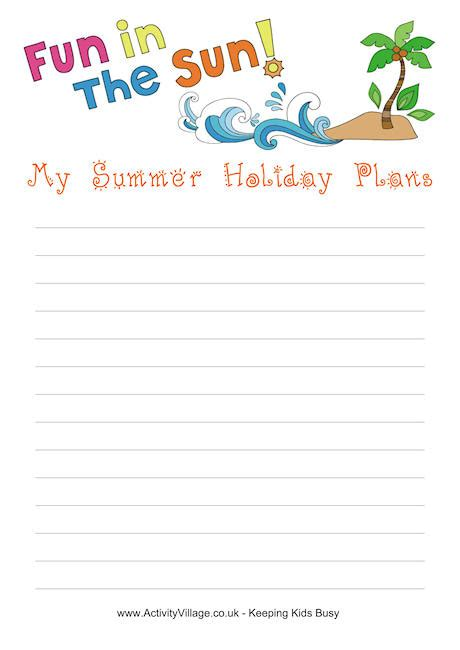 summer holiday planner template summer holiday plans printable