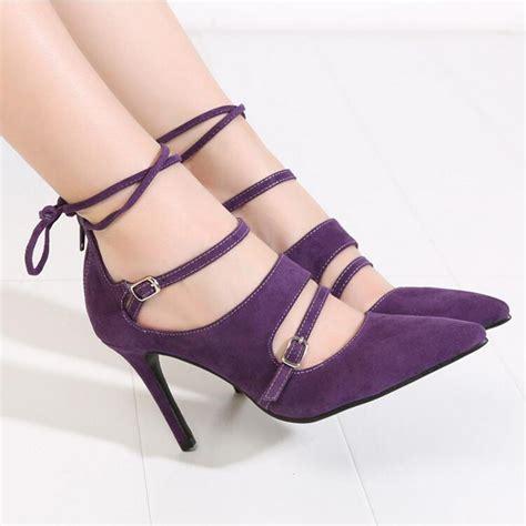 black and purple high heels 2016 fashion pointed stilettos pumps high