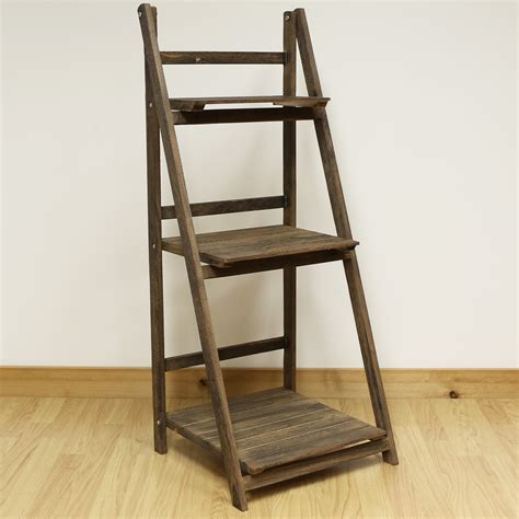 ladder shelf 3 tier brown ladder shelf display unit free standing