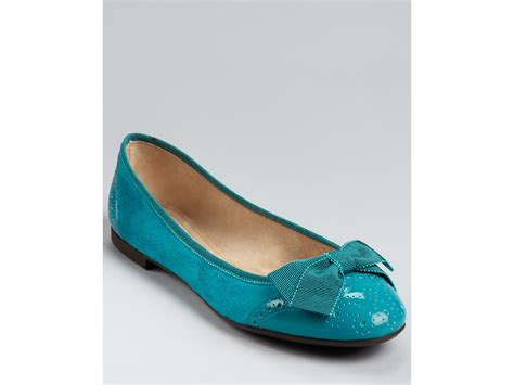flat teal shoes ferragamo flats my pretty in blue teal suede patent lyst
