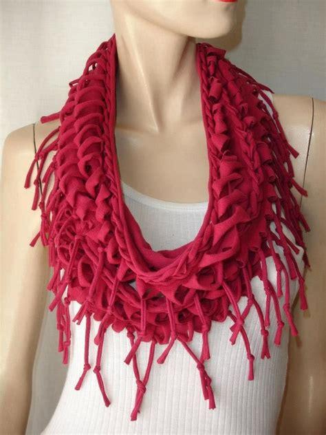 t shirt infinity scarf pattern womens or mens shredded tshirt scarf braided fringed