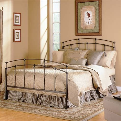 Black Headboard And Footboard Size Metal Bed With Headboard And Footboard In Black Walnut One Stop Furnish Headboard
