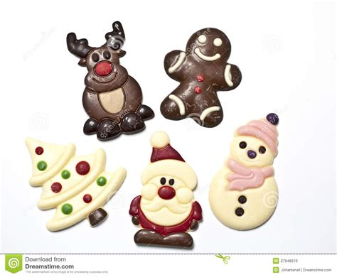 christmas figures made in chocolat stock photo image