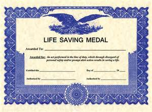 Combat Lifesaver Certificate Template by Somes Saving Citation Bar