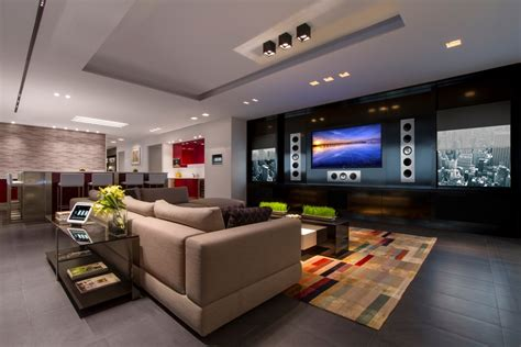 living room packages with free tv kef thx and crestron high end media room monaco av