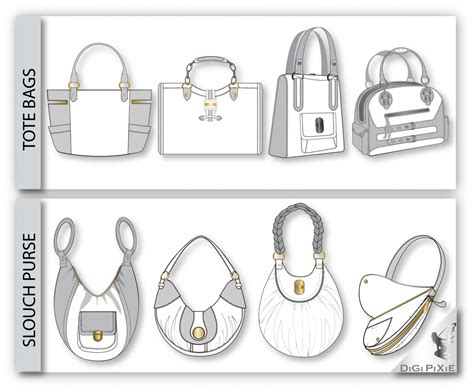 digipixie adobe illustrator handbag sketch templates