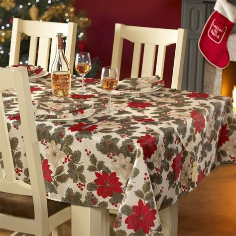 poinsettia christmas table linen free uk delivery