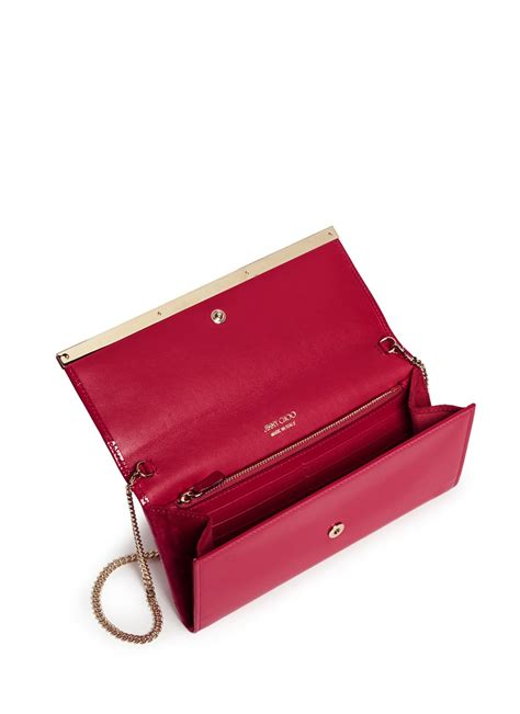 Jimmy Choo Mave Liquid Patent Clutch by Jimmy Choo Milla Patent Leather Wallet Clutch In Pink Lyst