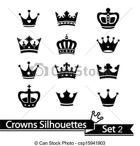 vector clipart of crown collection vector silhouette