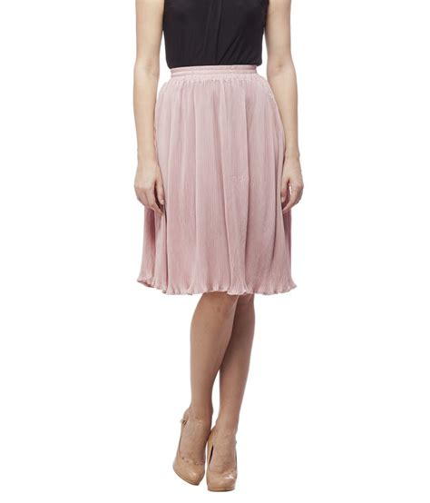 buy peptrends peachpuff polyester pleated skirt at