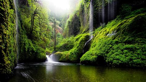 spring landscape waterfall  oregon usa nature river