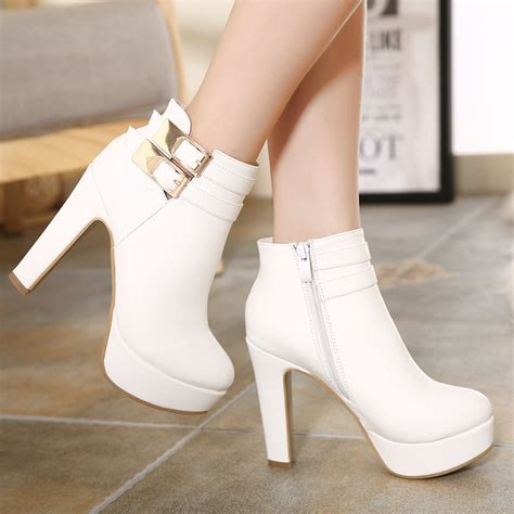 winter white high heel boots white buckle design high heel winter boots on luulla