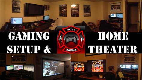 epic game room setup with bonus home theater room setup