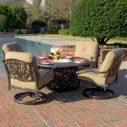 patio set with pit table rosedown 4 person cast aluminum patio seating set