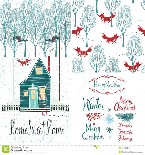 Sweet Pattern Card 6 home sweet home winter set stock vector image 44968629