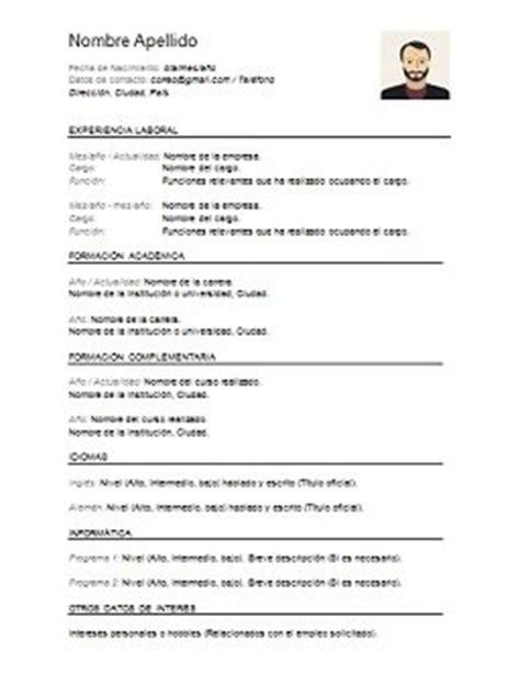 Modelo De Curriculum Vitae Para Completar Con Foto Curriculum Vitae Para Completar Los Libros Resumidos De Resumelibros Tk