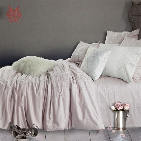 korean web site to order white satin bedspreafs western pink floral embroidery 100 cotton tribute silk bedding sets duvet cover set bed sheet