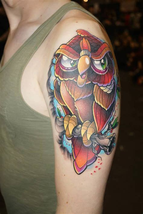 colorful owl tattoos colorful owl arm best design ideas