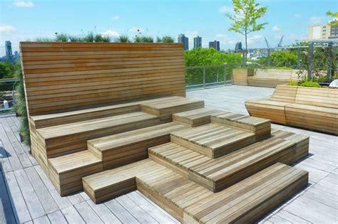 garden bench with roof roof garden wooden platform urban design exles