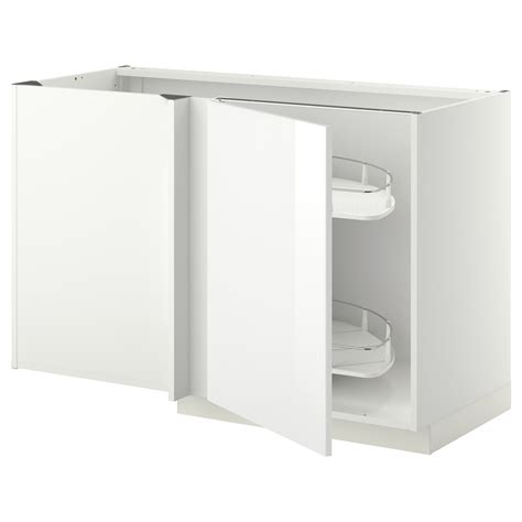 Ikea Corner Cabinet Kitchen Metod Corner Base Cab W Pull Out Fitting White Ringhult White 128x68 Cm Ikea