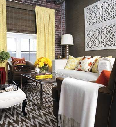 yellow gray and brown living room yellow curtains contemporary living room style at home