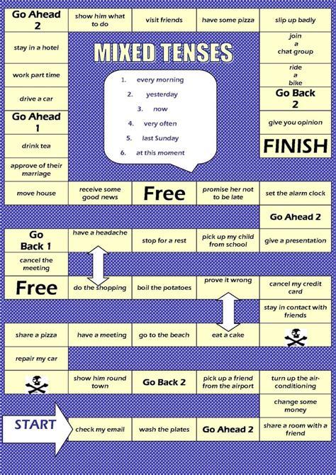printable games for verb tenses board game mixed tenses jpg 1131 215 1600 esl pinterest