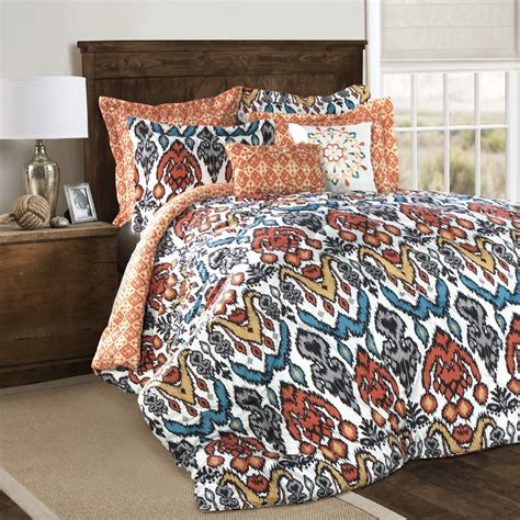 Ikat Bedding Sets Lush D 233 Cor Jaipur Ikat Comforters Turquoise Rust 7 Set Home Bed Bath