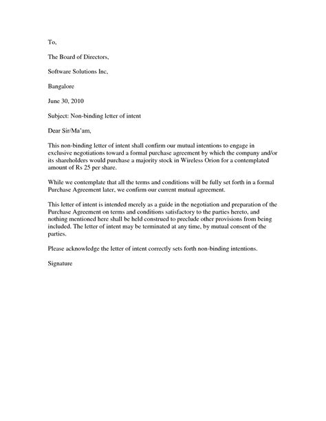 Letter Of Intent For Business Office letter of intent to lease office space sle 10