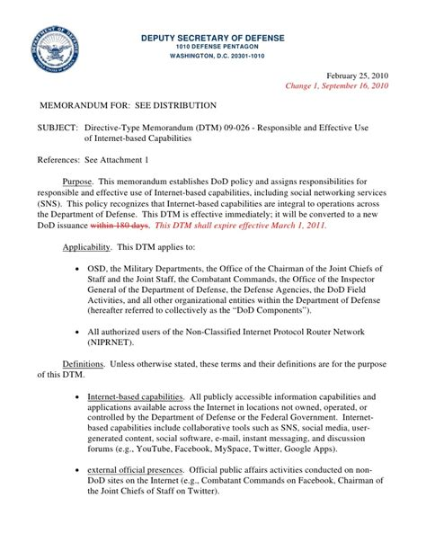 Un Official Letter Format Directive Type Memorandum Dtm 09 026 Responsible And