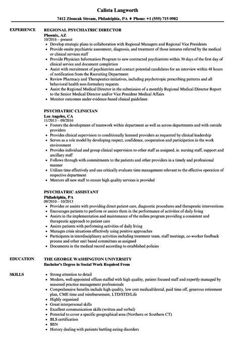 Resume Psychiatric psychiatric resume sles velvet