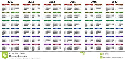 Years Calendar Calendar For Years 2012 2017 Royalty Free Stock Photo