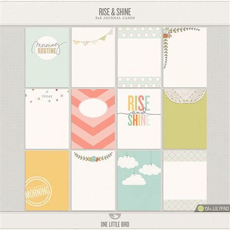 Journaling Cards Template by The Lilypad Journal Cards Rise And Shine Journaling