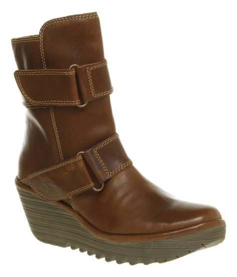 womens fly yaki wedge camel leather ankle boots ebay
