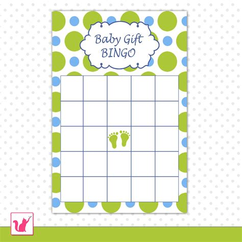 Blank Bingo Card Template For Baby Shower by 30 Baby Shower Gift Bingo Card Blue Green