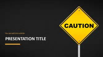 caution sign template caution road sign powerpoint template slidemodel