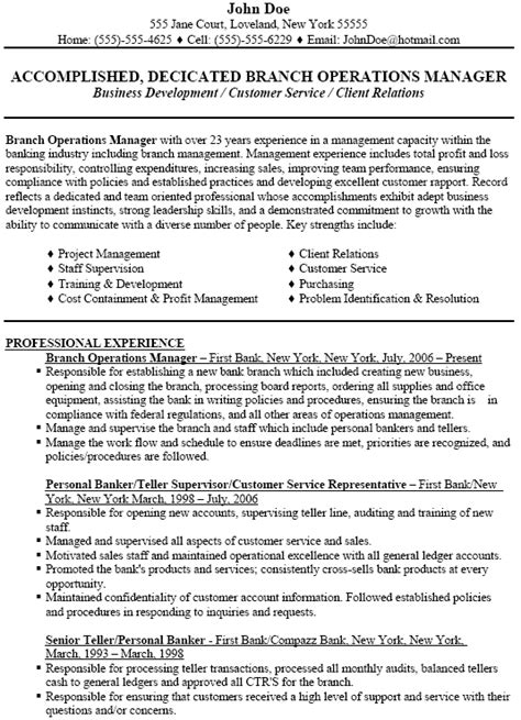 branch manager resume sle sle resume for operations manager 28 images sle resume