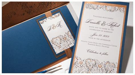 wedding invitations teal and copper inspired by momental designs painted stationery