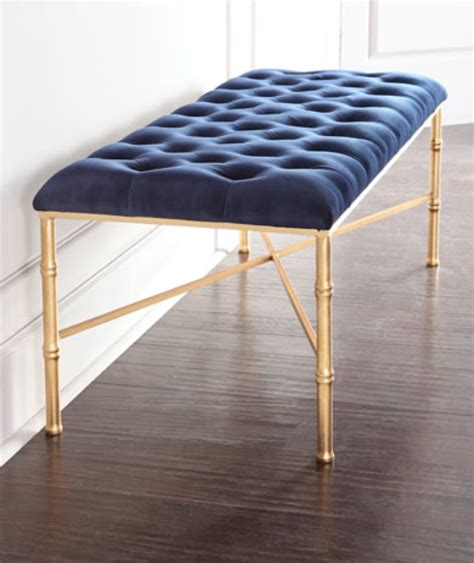 worlds away bench stella gold leaf navy bench benches and stools seating